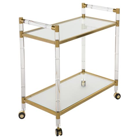 """SAFAVIEH Couture High Line Collection Duval Bronze Brass Bar Trolley - 31.5"""" W x 15.8"""" L x 32.3"""" H"""