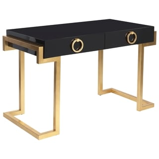 Safavieh Couture Collection Maia Gold Leaf Black Lacquer 2-Drawer Storage Desk