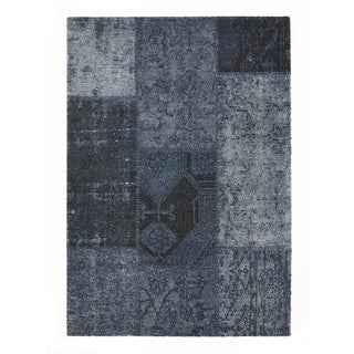 "Somette Baxter Collection Denim Blue Abstract Area Rug (6'7"" x 9'6"")"