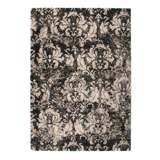 "Somette Marion Collection Charcoal Floral Area Rug (6'7"" x 9'6"")"