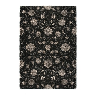 """Somette Marion Collection Charcoal Floral Area Rug (6'7"""" x 9'6"""")"""