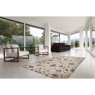 """Somette Marion Collection Cream Floral Area Rug (6'7"""" x 9'6"""")"""