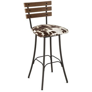Amisco Lodge Swivel Metal and Wood Barstool