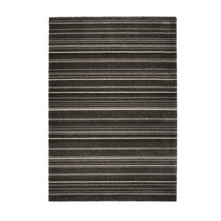 "Somette Marion Collection Dark Grey Striped Area Rug (6'7"" x 9'6"")"