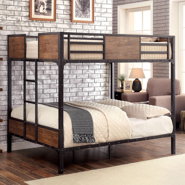 Furniture of America Markain Industrial Metal Bunk Bed  Free