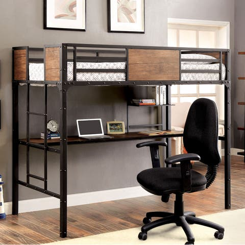 Markain Industrial Twin Black Loft Bed with Workstation by FOA