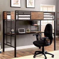 Furniture of America Markain Industrial Metal Loft Bed with Workstation