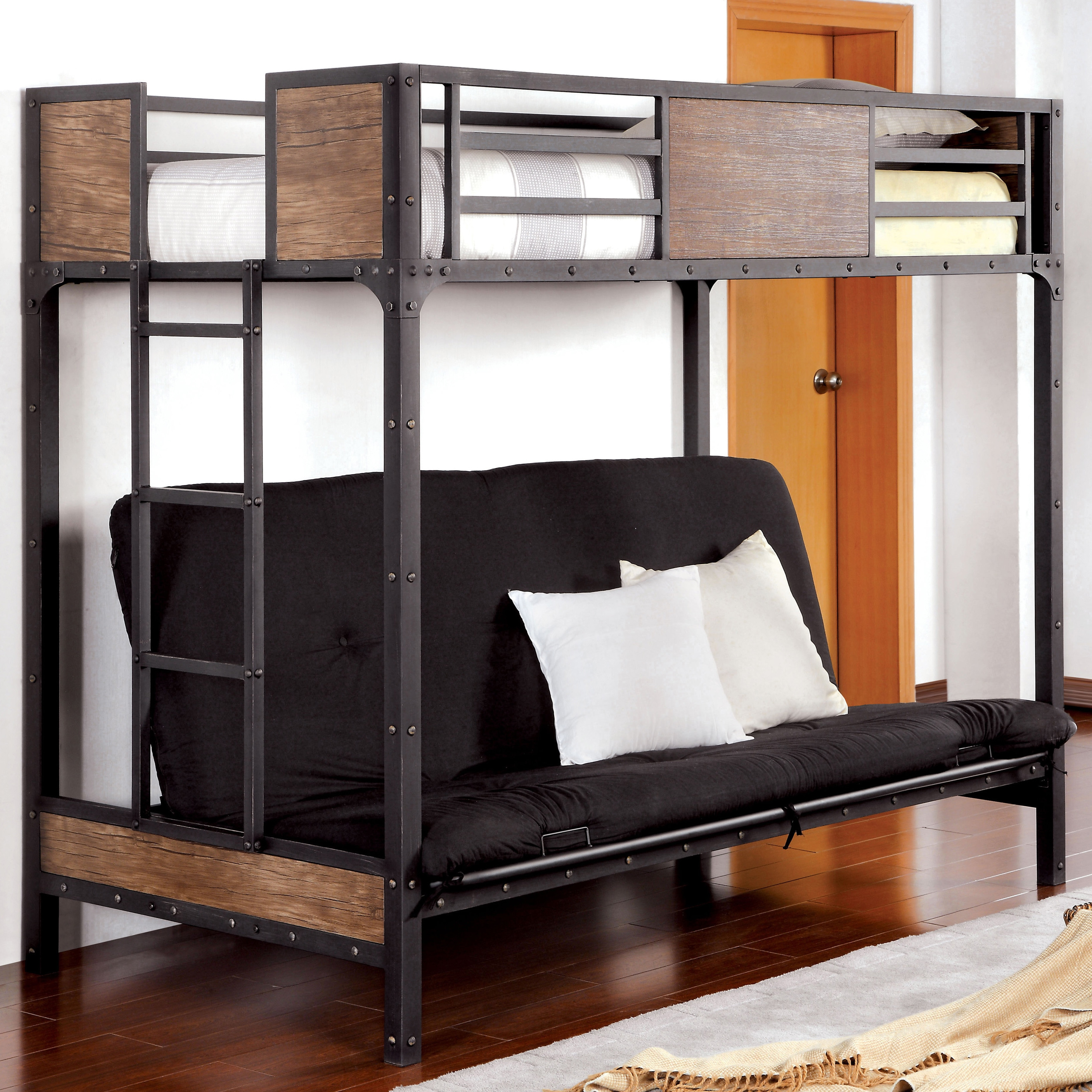 Furniture of America Markain Industrial Metal Loft Bed wi...