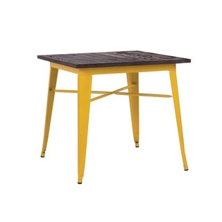 Amalfi Glossy Yellow Elm Wood Top Steel Dining Table 30 Inch - Brown