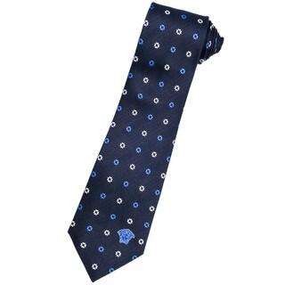 Versace 100-percent Italian Silk Navy/ White Floral Neck Tie