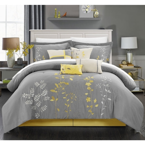 Chic Home 8-piece Fortuno Embroidered Yellow Comforter Set