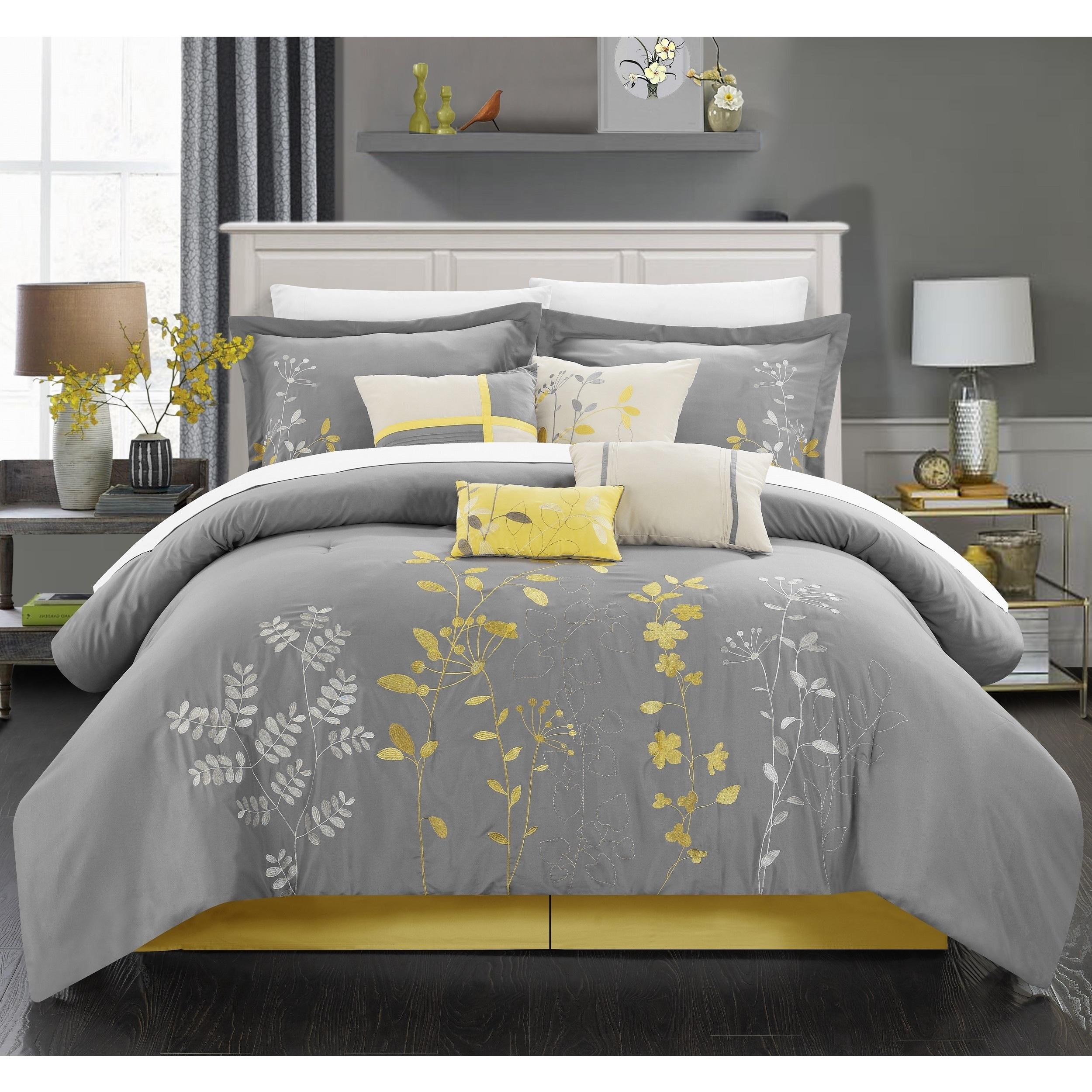 Black Grey Yellow Bedroom Bedroom Comforter Sets Bedroom Bed Head Ideas Bedroom Sets Light Wood: Shop Chic Home 8-piece Fortuno Embroidered Yellow