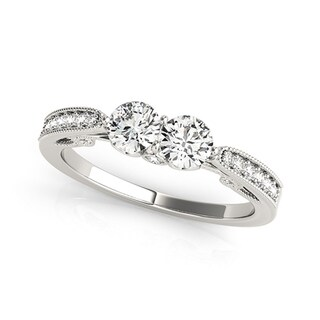 Auriya 14k White Gold 1/2ct TDW 2-Stone Round Diamond Ring