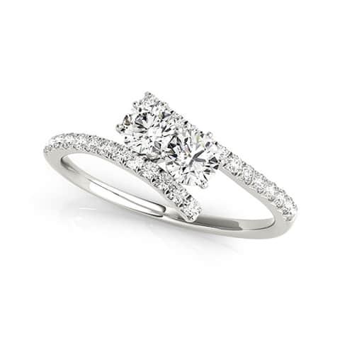 Auriya 14k Gold 1ctw Modern Two-stone Diamond Engagement Ring