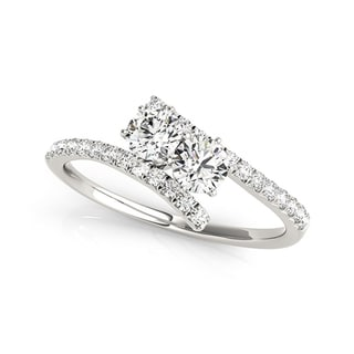 Auriya 14k White Gold 1ct TDW 2-Stone Round Diamond Ring