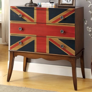 Furniture of America Crowns Brown 3-drawer Flag Print Hallway Chest