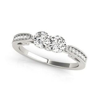Auriya 14k White Gold 1ct TDW 2-Stone Round Diamond Ring (H-I, SI1-SI2)