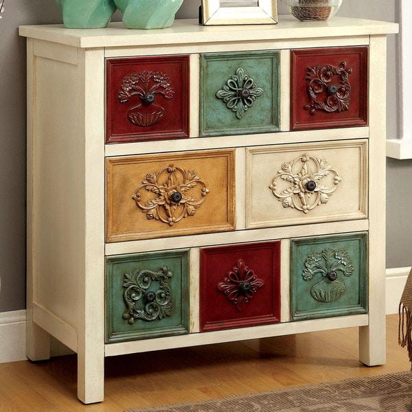 Furniture Of America Floresta Antique White 3 Drawer Hallway Cabinet