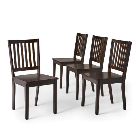 Simple Living Slat Espresso Rubberwood Dining Chairs (Set of 4) (As Is Item)