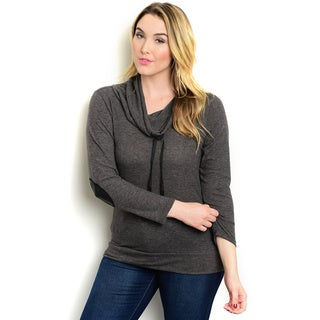 Shop the Trends Women's Plus Size Long Sleeve Cowl Neck Top With Drawstring Detail