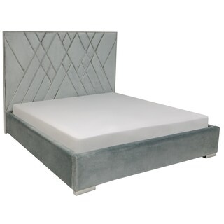 Safavieh Couture High Line Collection Bermudez Light Blue/ Silver Velvet Glam Bed (King)