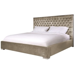 Safavieh Couture High Line Collection Chester Champagne Velvet Queen Bed