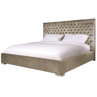 Safavieh Couture High Line Collection Chester Champagne Velvet King Bed