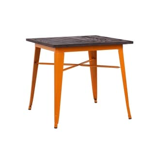 Amalfi Glossy Orange + Elm Wood Top Steel Dining Table 30""
