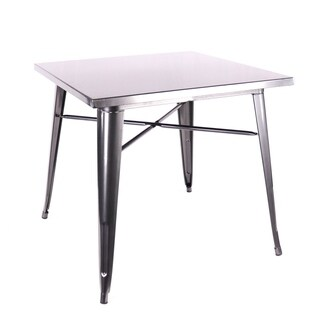 Amalfi Dark Gunmetal Steel Dining Table 30 Inch - Grey
