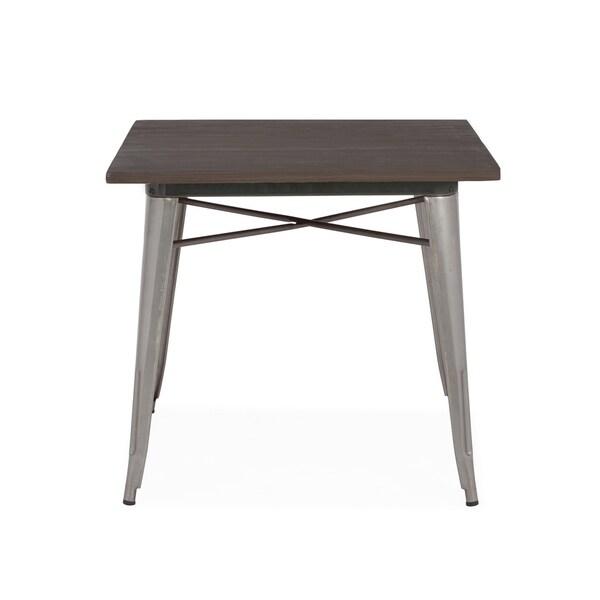 Amalfi Gunmetal Elm Wood Top Steel Dining Table 30 Inch - Grey/Brown/Silver