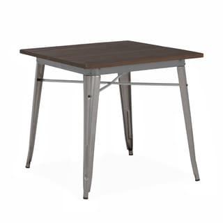 "Amalfi Clear Gunmetal + Elm Wood Top Steel Dining Table 30"""