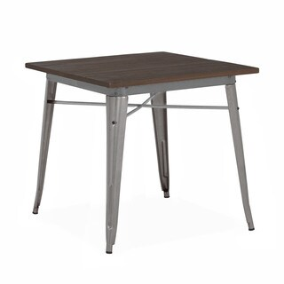 Amalfi Gunmetal Elm Wood Top Steel Dining Table 30 Inch - Grey/Brown/Silver