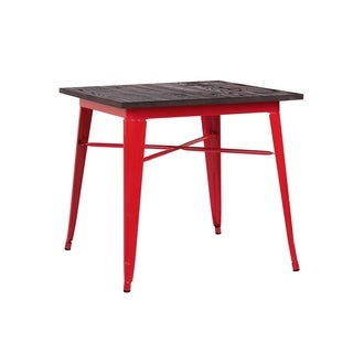Amalfi Glossy Red + Elm Wood Top Steel Dining Table 30""