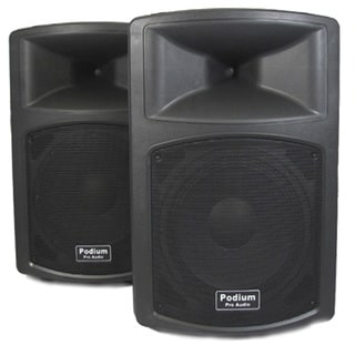 Podium Pro PP1203A Pair 1200W DJ PA Karaoke Active Powered 12-inch Speakers w/ RCA Connections PP1203A-PR