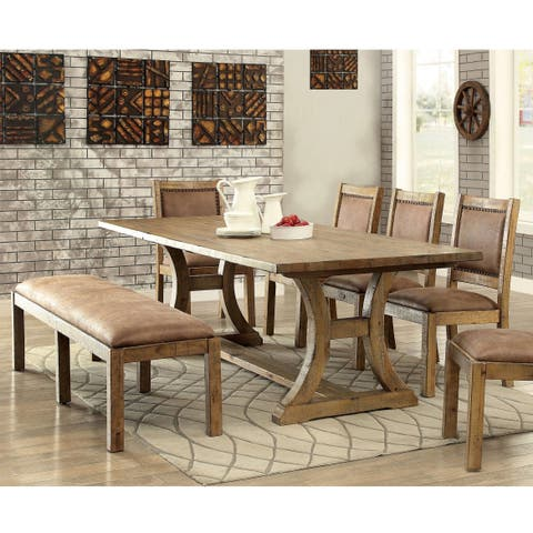 Matthias Industrial Rustic Pine 6-piece Dining Set by FOA