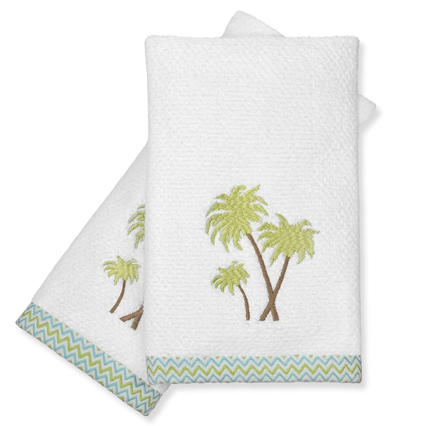Peri Home Towels: Peri Home Cotton Palm Tree Fingertip Towels (Set Of 2