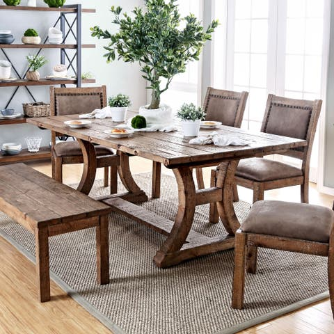 Furniture of America Sail Rustic Pine Solid Wood Dining Table