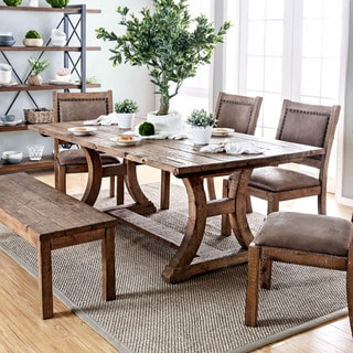 Link to Furniture of America Sail Rustic Pine Solid Wood Dining Table Similar Items in Kitchen & Dining Room Chairs
