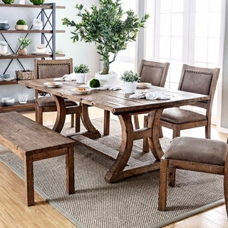 Furniture of America Sail Industrial Pine Solid Wood Dining Table