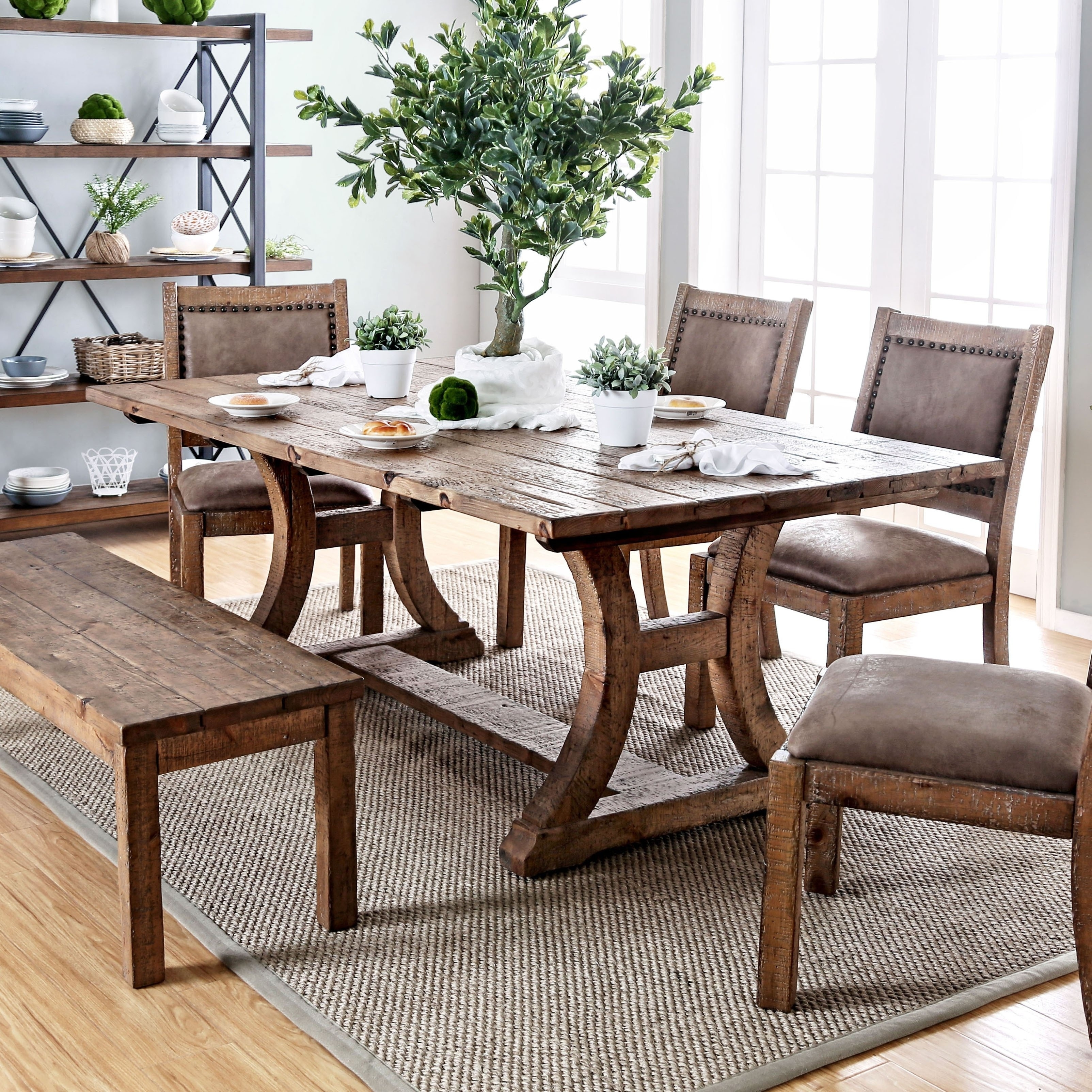Furniture Of America Sail Pine Solid Wood Dining Table