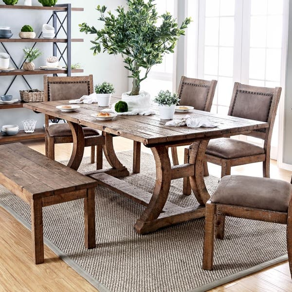 Matthias Rustic Pine Dining Table By Foa