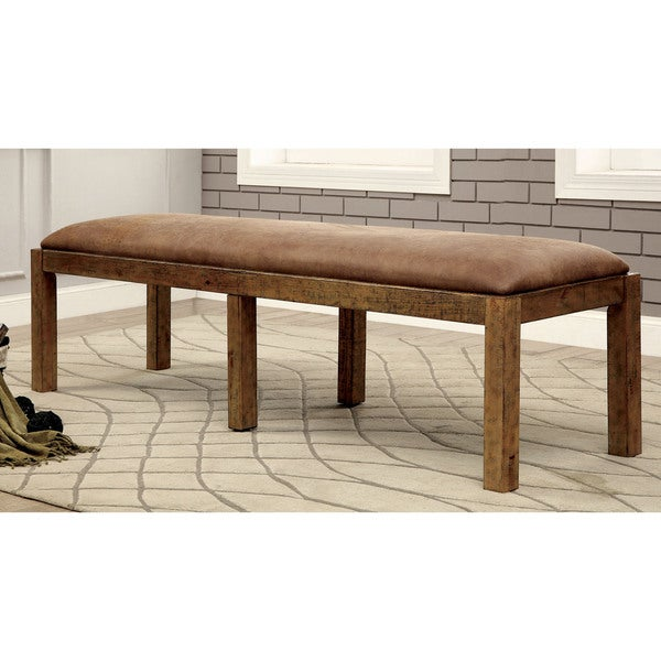 Furniture Of America Matthias Industrial Rustic Pine Upholstered Dining  Bench   72u201dW X 19u201d