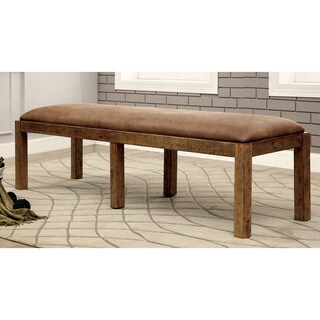 Furniture of America Matthias Industrial Rustic Pine Upholstered Dining Bench - 72W X 19D X 19 3/4H