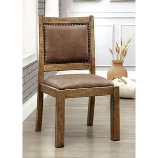 Furniture Of America Matthias Industrial Rustic Pine Upholstered Dining Chair Set 2