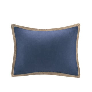 Madison Park Feather Down Filled Linen with Jute Trim Oblong Pillow