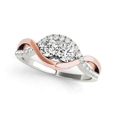 Auriya 14k Two-tone Gold 1/2ctw Unique Two-stone Diamond Engagement Ring