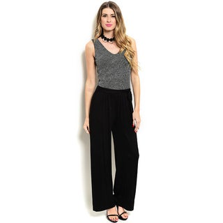 Shop the Trends Women's Sleeveless Scoop Neck Jumpsuit With Metallic Speckled Bodice