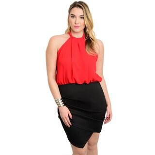 Shop the Trends Women's Plus Size Woven Blouson Bodice Combination Dress With Asymmetric Skirt
