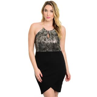 Shop the Trends Women's Plus Size Sleeveless Metallic Speckled Bodice/ Solid Skirt With Tulip Hem Dress|https://ak1.ostkcdn.com/images/products/11149963/P18147538.jpg?impolicy=medium
