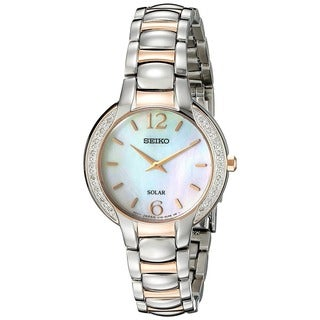 Seiko Ladies SUP256 Solar Stainless Steel Two Tone Rose and Silver Tone Diamond Watch